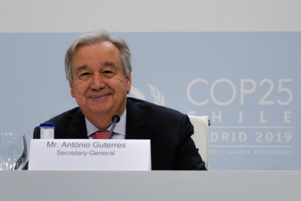 CCNUCC Flickr Le Secrétaire général de l'ONU lors d'une conférence de presse à Madrid le 1er décembre 2019 avant le lancement de la COP25